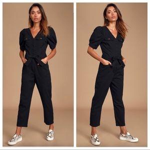 Lulu's Ralston Black Puff Sleeve Denim Jumpsuit